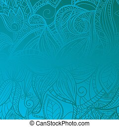 bleu, vendange, floral, seamless, fond