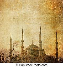 bleu, vendange, image, mosquée, istambul
