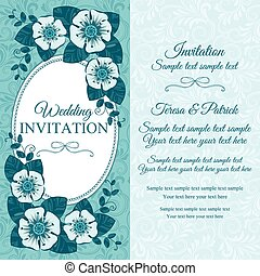 bleu, vendange, invitation mariage, carte