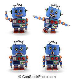 bleu, vendange, jouet, ensemble, robot
