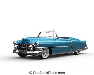 bleu, vendange, -, métallique, voiture, frais
