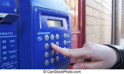 bleu, vendange, nombre, téléphone, boutons, cabine téléphonique, vieux