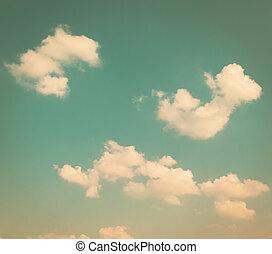 bleu, vendange, nuages blancs, ciel