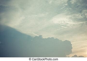 bleu, vendange, nuages, fond, ciel
