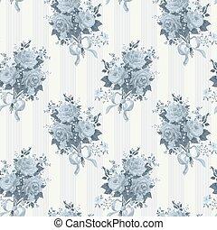 bleu, vendange, papier peint, pattern., vecteur, fond, rose