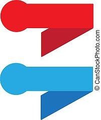bleu, vendange, signe., arrière-plan., ruban, blanc, bannière, rouges