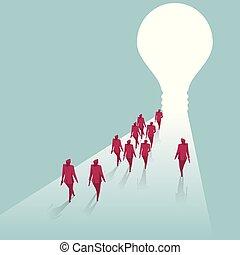 bleu, vers, groupe, lumière, isolé, promenade, arrière-plan., hommes affaires, bulb.