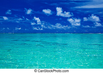bleu, vibrant, ciel, océan, exotique, couleurs