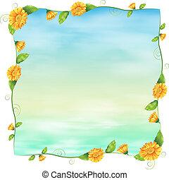 bleu, vide, fleurs, gabarit, jaune