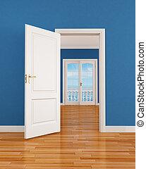 bleu, vide, intérieur