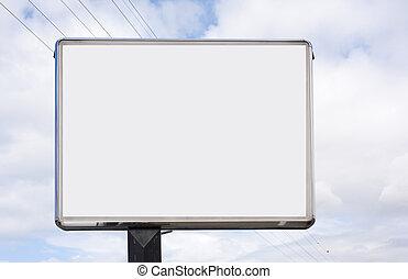 bleu, vide, panneau affichage, ciel