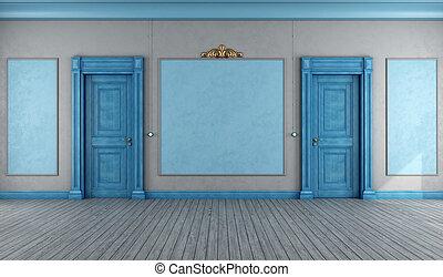 bleu, vide, vendange, intérieur