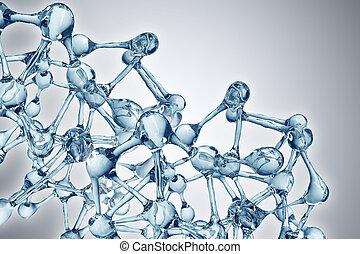 bleu, vie, sur, biologie, molécule, illustration, recherche, fond, médecine, moléculaire, scientifique, dna.