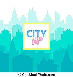bleu, vie ville, silhouette, urbain, affiche, pastel, plat, matin, paysage., arrière-plan., journée, gabarit, backgrounds., cityscape, skyline., style.