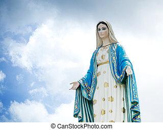 bleu, vierge, ciel, béni, arrière-plan., statue, marie