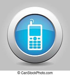 bleu, vieux, antenne, mobile, métallique, bouton, icône