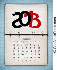 bleu, vieux, bloc-notes, calendrier, papier, mars, ouvert, 2013