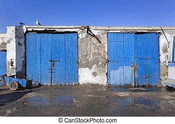 bleu, vieux, bois, port, portes, essaouira