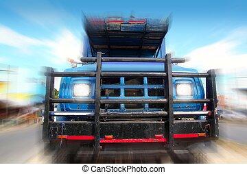 bleu, vieux, ciel, camion, sous, grunge, vieilli