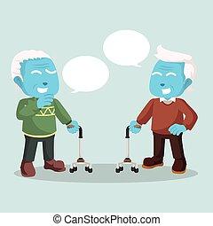 bleu, vieux, conversation, autre, chaque, homme