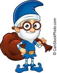 bleu, vieux, elfe, caractère