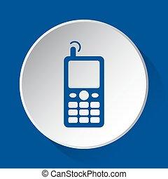 bleu, vieux, mobile, bouton, simple, téléphone, blanc, icône