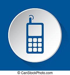 bleu, vieux, mobile, bouton, -, téléphone, blanc, icône