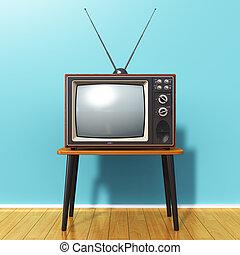 bleu, vieux, salle, tv, vendange, contre, mur, retro