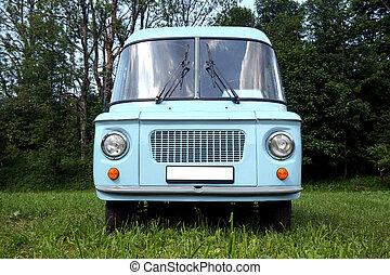 bleu, vieux, voiture, -, vue frontale