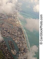 bleu, ville, bâtiments, aérien, miami, en ville, vue mer