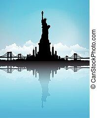 bleu, ville, ciel, liberté, horizon, vecteur, york, statue, nouveau