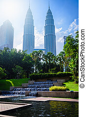 bleu, ville, ciel, malaisie, horizon, kuala, cityscape, lumpur