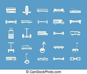 bleu, ville, ensemble, vecteur, transport, icône