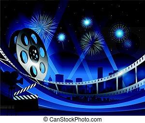 bleu, ville, film, fond, nuit, devant, hollywood, bobine, pellicule