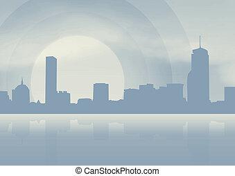 bleu, ville, fond