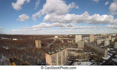 bleu, ville, nuages, ciel, sur, flotteur, bas, défaillance temps