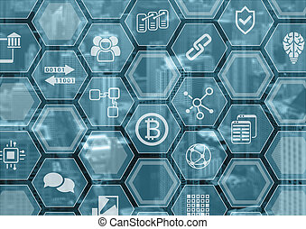 bleu, ville, polygone, voile de surface, blockchain,...