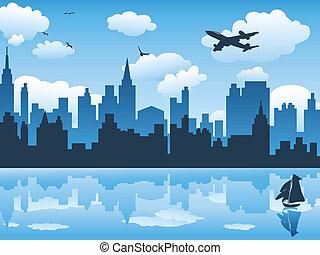 bleu, ville, reflet, ciel, eau, sien