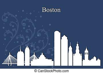 bleu, ville, silhouette, boston, horizon, fond