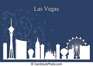 bleu, ville, silhouette, horizon, vegas, fond, las