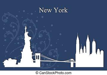 bleu, ville, silhouette, horizon, york, fond, nouveau