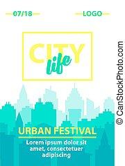 bleu, ville, silhouette, urbain, affiche, pastel, plat, matin, paysage., arrière-plan., horizon, journée, gabarit, backgrounds., cityscape, skyline., style.