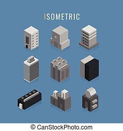 bleu, ville, style, isometric., bâtiments, symbole, isolé, arrière-plan., vecteur, icône