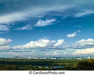 bleu, ville, urbain, sous, blanc, cieux, paysage