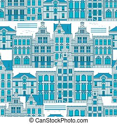 bleu, ville, vieux