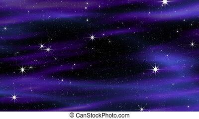 bleu-violet, nuages, boucle, espace