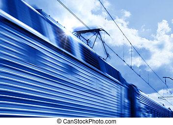 bleu, vitesse, train, dans mouvement