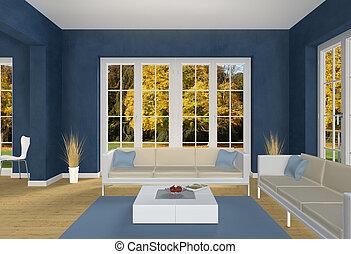 bleu, vivant, automne, parc, salle