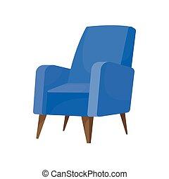 bleu, vivant, confortable, furniture., plat, fauteuil bois, confortable, room., vecteur, legs., chaise, doux, icône