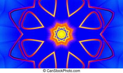 bleu, vj, jaune, kaléidoscopique, rouges, boucle